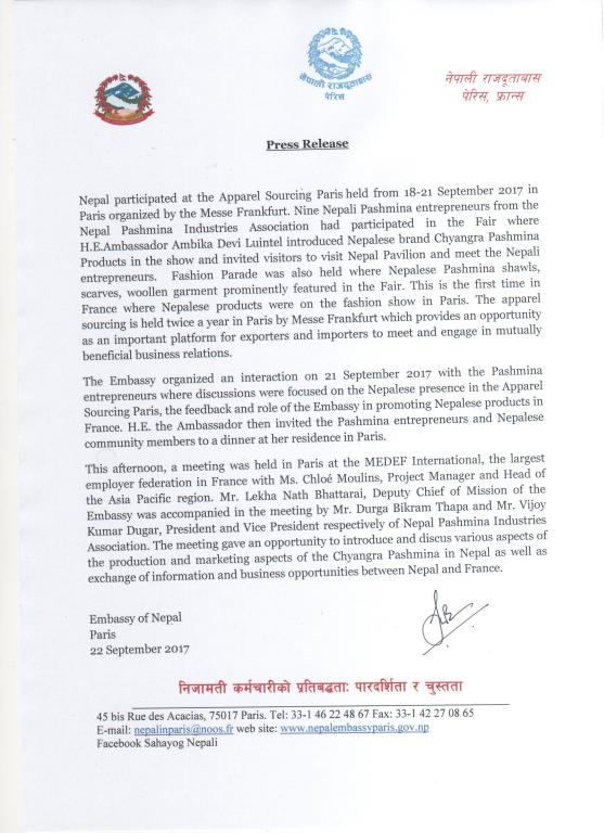 Press release issued by embassy of nepal paris regarding nepals press release issued by embassy of nepal paris regarding nepals participation at the apparel sourcing stopboris Images