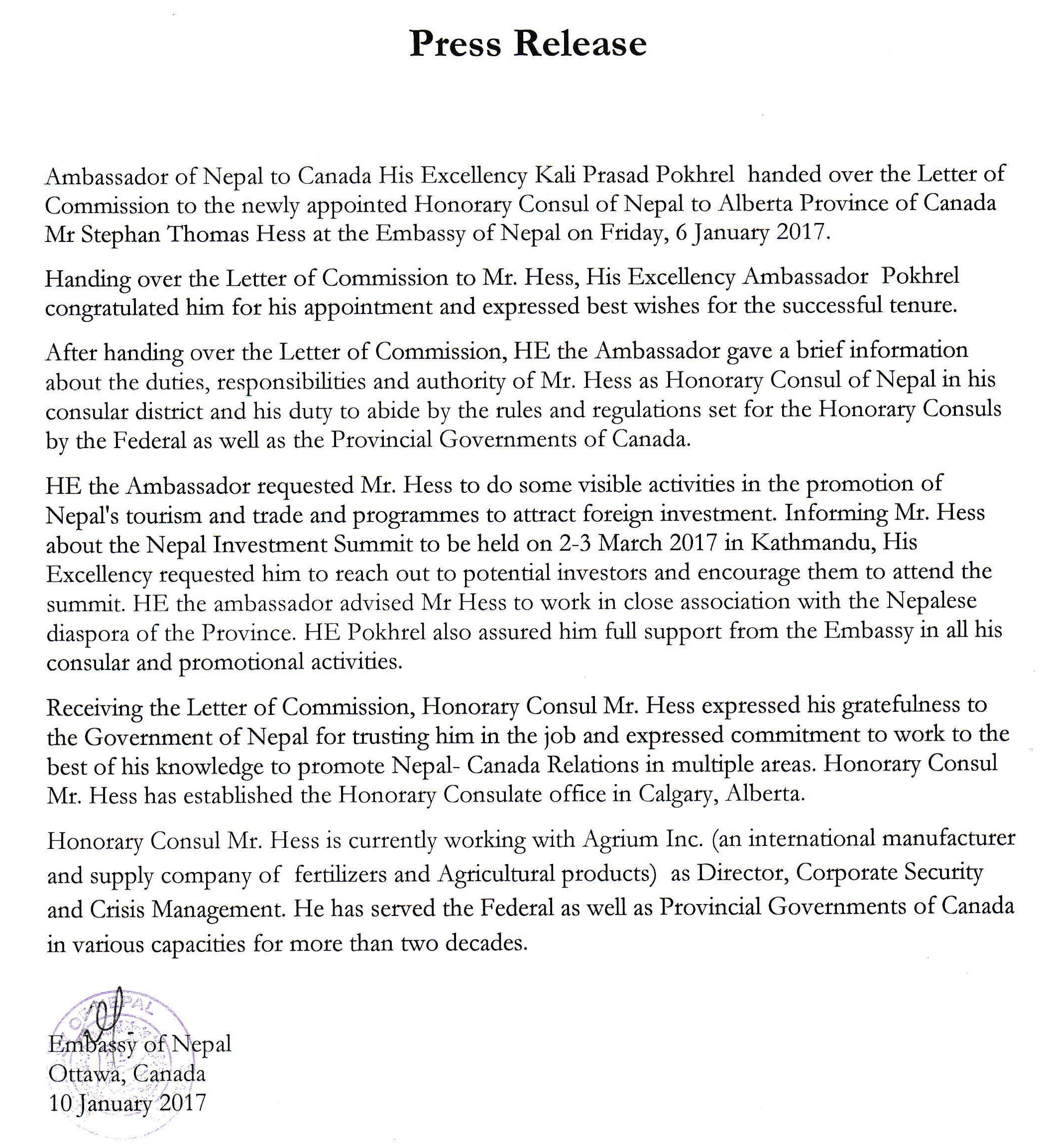 press release issued by the Embassy of Nepal, Ottawa