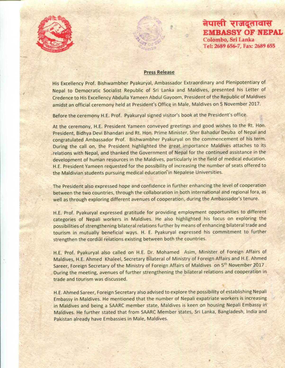Press Release issued by Embassy of Nepal, Colombo on