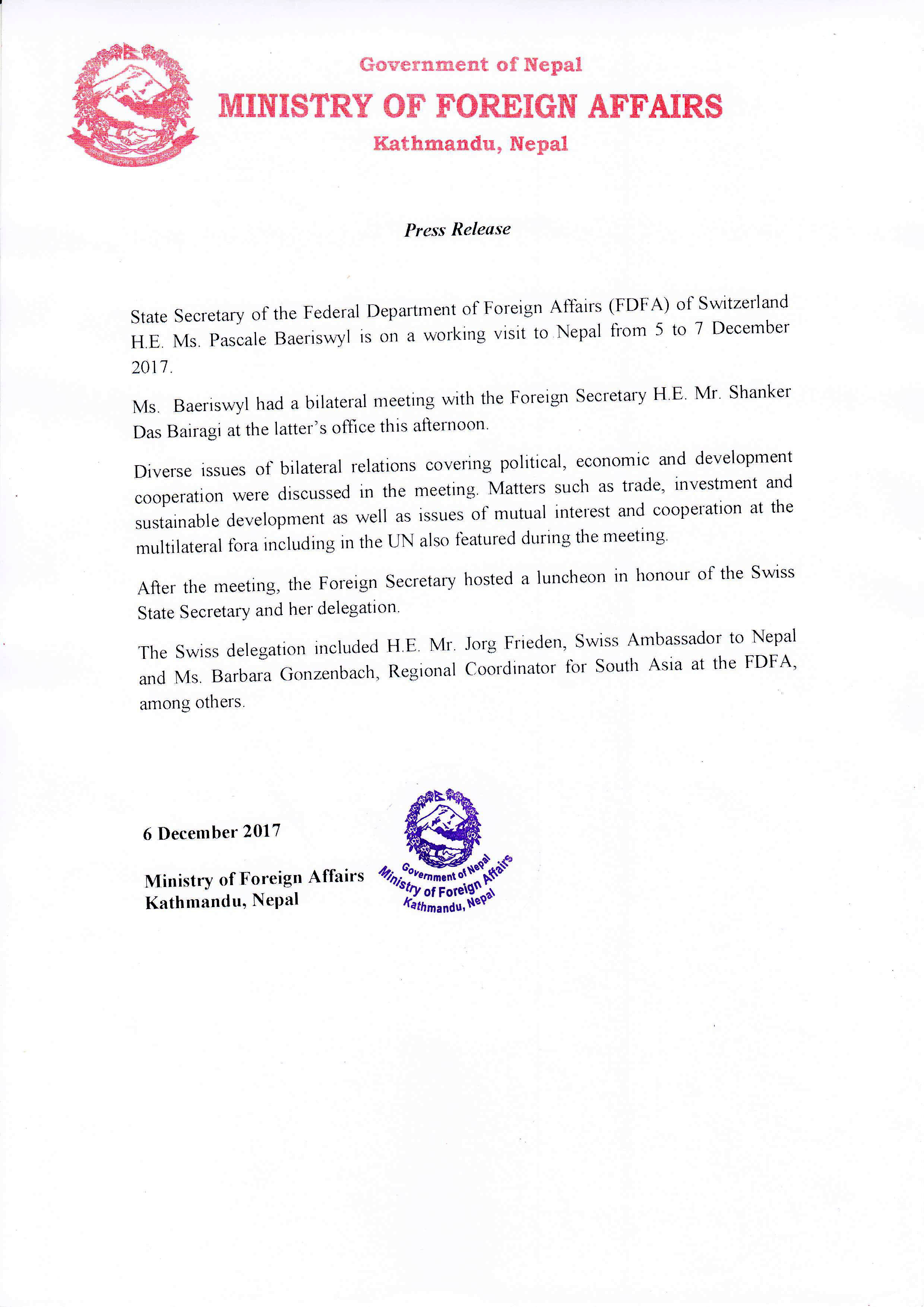 Press release on visit of State Secretary of the Federal