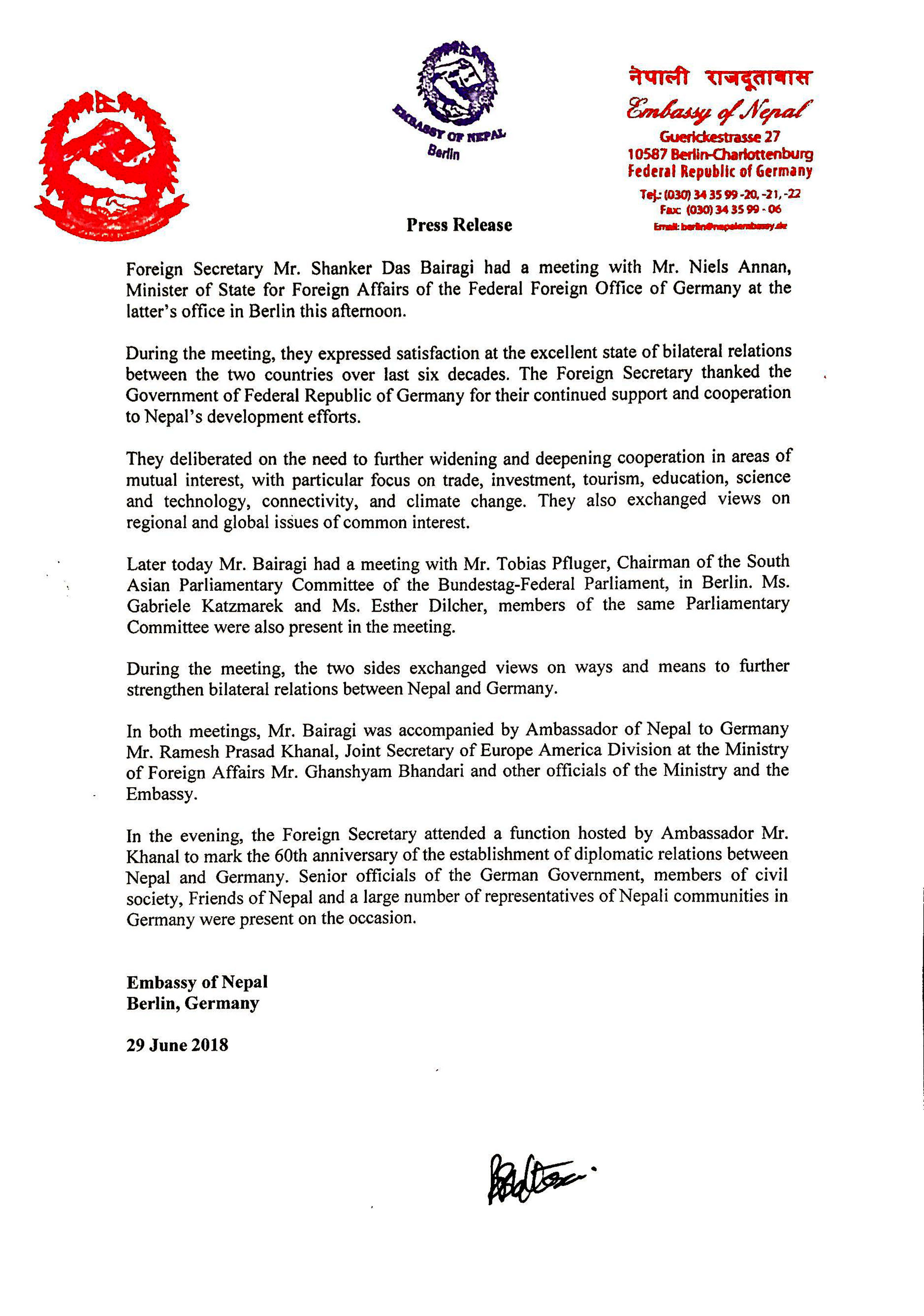 Press Release Issued By Nepali Emby Berlin